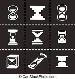 ベクトル, セット, 砂時計, アイコン