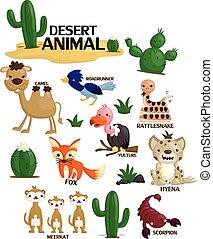 ベクトル, セット, 砂漠動物