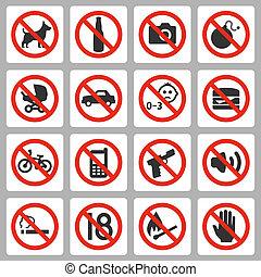 ベクトル, セット, 禁止, サイン, アイコン