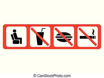 ベクトル, セット, 禁止, illustration., icons.