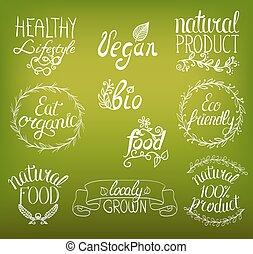 ベクトル, セット, 自然, 背景, アイコン, vignettes., 食物, ポスター, vegan, 有機体である, 印, 花, 書かれた, リボン, 装飾, 手, ロゴ, レストラン, ラベル, バッジ, templates.