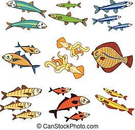 ベクトル, セット, 色, fishes., 海, 漫画