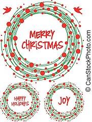 ベクトル, セット, 花輪, クリスマス