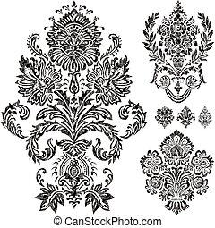 ベクトル, セット, 装飾, ダマスク織