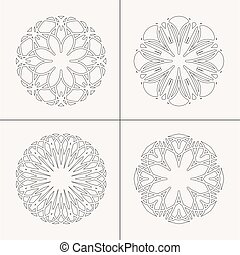 ベクトル, セット, 装飾, 円