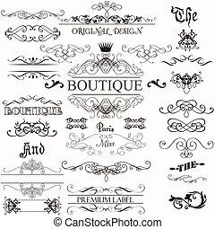 ベクトル, セット, 要素, calligraphic