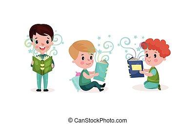 ベクトル, セット, 読書, 小さい 男の子, 開いた, 保有物, イラスト, 本, 特徴
