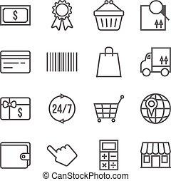 ベクトル, セット, 買い物, アイコン