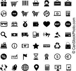ベクトル, セット, 買い物, イラスト, アイコン