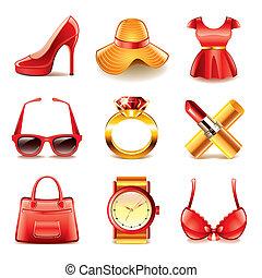 ベクトル, セット, 買い物, ファッション, アイコン