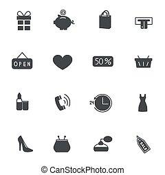 ベクトル, セット, 買い物, icons., イラスト
