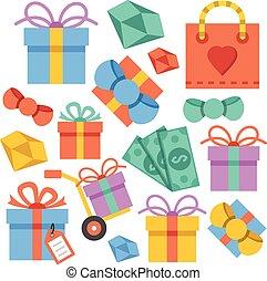 ベクトル, セット, 贈り物, アイコン