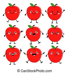 ベクトル, セット, 赤, 別, 特徴, 病気, emitions, かわいい, aple