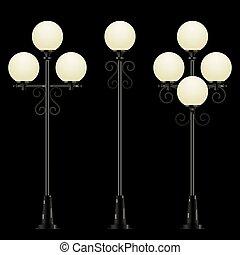 ベクトル, セット, 通り, 照ること, lamps.