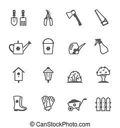 ベクトル, セット, 道具, 庭, アイコン