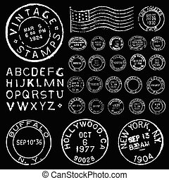 ベクトル, セット, 郵送料, テンプレート, 白, 切手, 型