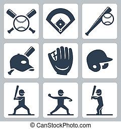 ベクトル, セット, 野球, 関係した, アイコン