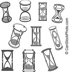 ベクトル, セット, 隔離された, 砂時計, アイコン