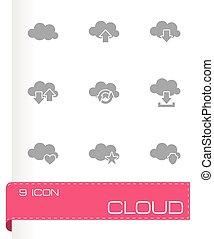 ベクトル, セット, 雲, アイコン