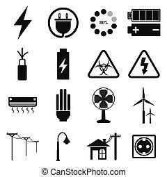 ベクトル, セット, 電気である, アイコン