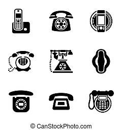 ベクトル, セット, 電話, アイコン