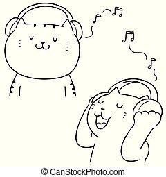 ベクトル, セット, 音楽が聞く, ねこ