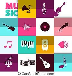 ベクトル, セット, 音楽, 背景, アイコン