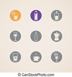 ベクトル, セット, 飲料, アイコン
