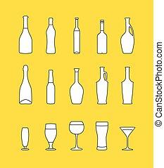 ベクトル, セット, 飲料