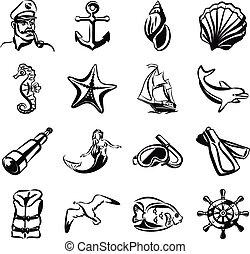 ベクトル, セット, 黒い海, アイコン