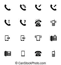 ベクトル, セット, 黒い電話, アイコン