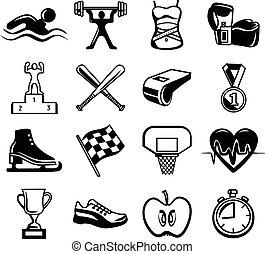 ベクトル, セット, 黒, アイコン, スポーツ