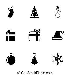 ベクトル, セット, 黒, クリスマス, アイコン