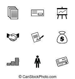 ベクトル, セット, 黒, ビジネス アイコン