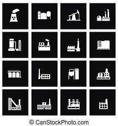 ベクトル, セット, 黒, 工場, アイコン