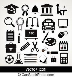 ベクトル, セット, 黒, 教育, アイコン