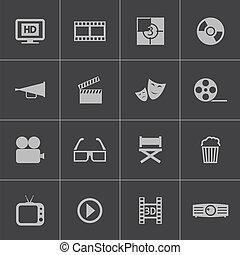ベクトル, セット, 黒, 映画館, アイコン