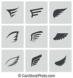 ベクトル, セット, 黒, 翼, アイコン