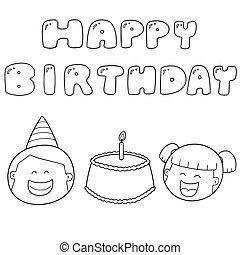 ベクトル, セット, birthday, 幸せ