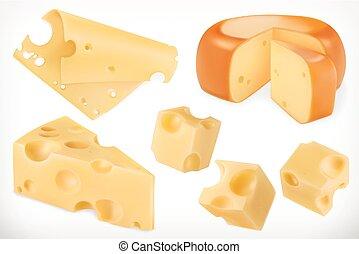 ベクトル, セット, cheese., 3d, アイコン