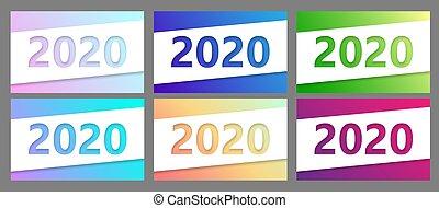 ベクトル, セット, collection., ペーパーを切りなさい, 2020, 旗, style.
