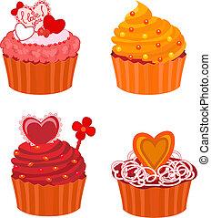 ベクトル, セット, cupcakes