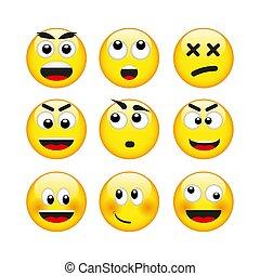ベクトル, セット, emoticons
