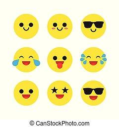 ベクトル, セット, emoticons, emoji