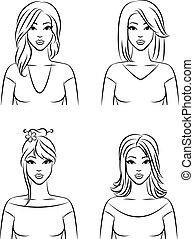 ベクトル, セット, hairstyle., 女性