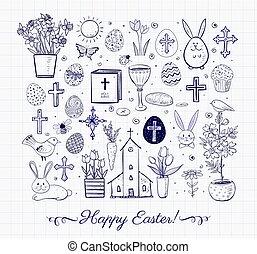 ベクトル, セット, illustration., バックグラウンド。, ペーパー, doodles, 内側を覆われた, イースター