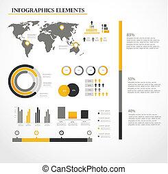 ベクトル, セット, infographics