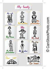 ベクトル, セット, inscriptions., 家族, 関係, s, ペーパー, members., 特徴, values., 図画, 子供, illustrations.
