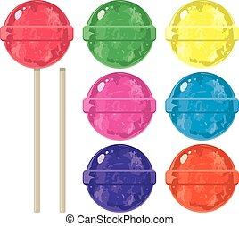 ベクトル, セット, lollipops, カラフルである