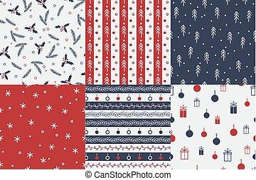 ベクトル, セット, patterns., seamless, クリスマス